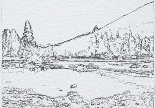 example of pencil sketch effect for footage