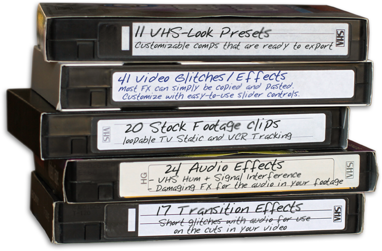 VHS tapes with features for Creation VHS Effects for After Effects