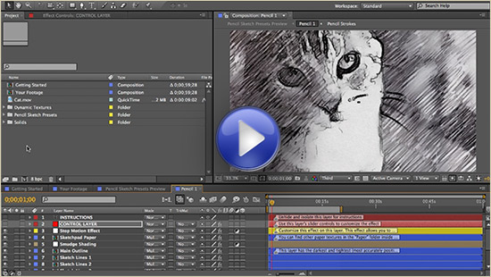 Click to watch the after effects tutorial for turning footage into a pencil drawing